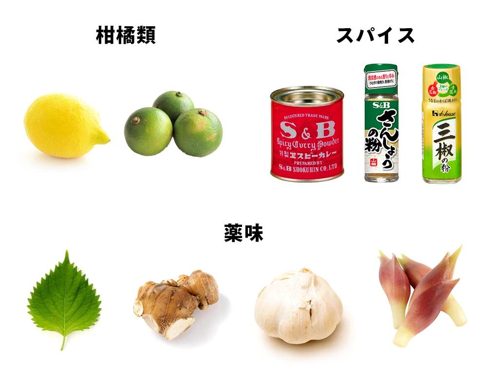 柑橘類、香辛料、薬味